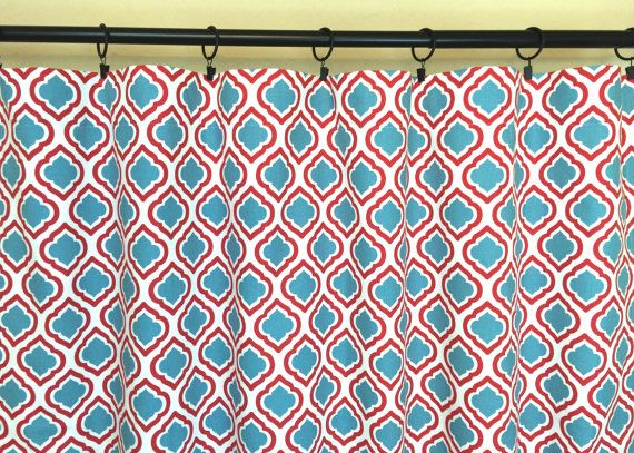 Red And Blue Moroccan Curtain Panels 25 Or 50 By Thebluebirdshop