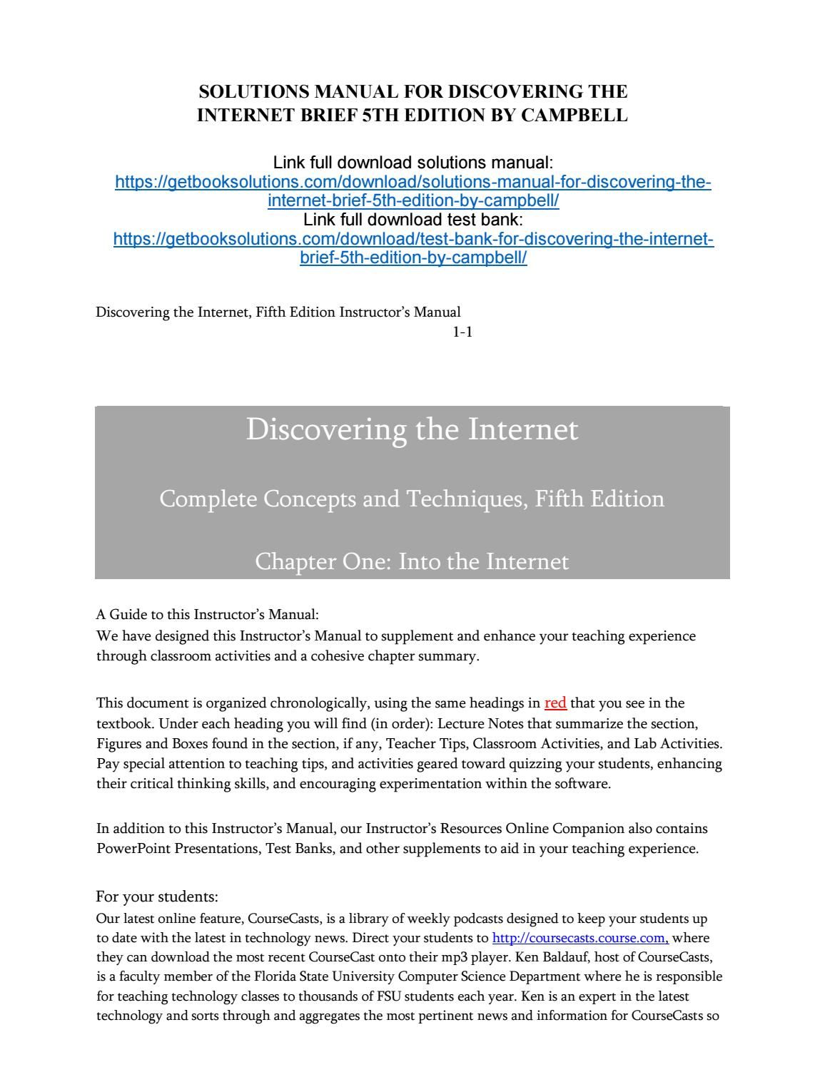 Solutions manual for discovering the internet brief 5th edition by campbell  Manual, Textbook, User