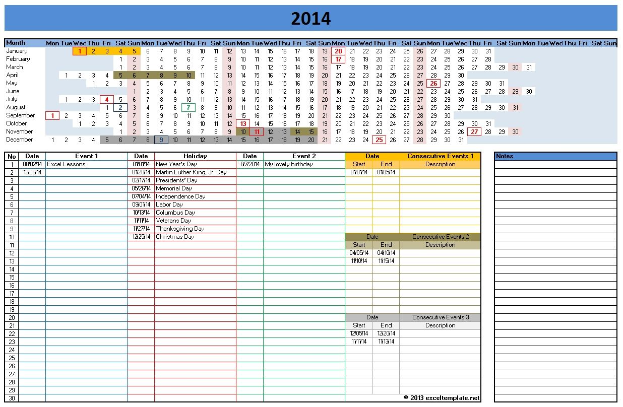 2014 calendar in excel xls format all calendar templates files ...