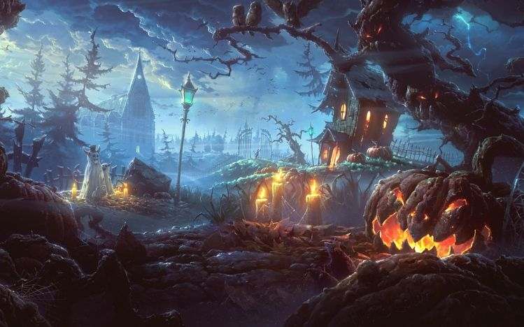 Free Windows 10 Theme Scary Halloween Http Themepack Me Theme Scary Halloween Halloween Halloween Wall Art Halloween Images Halloween Desktop Wallpaper