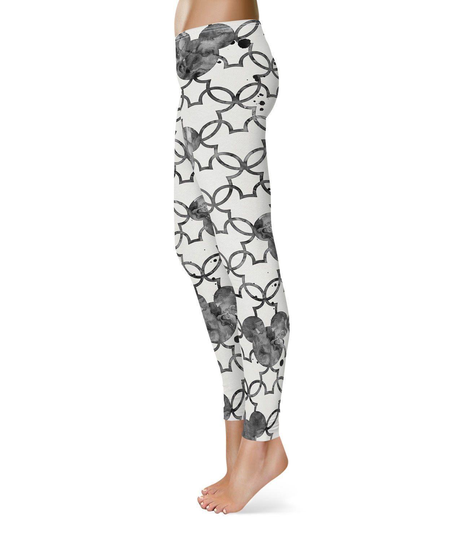 Mickey Mouse Watercolor Black Fleece Leggings For Women Sizes Xs-3Xl ...