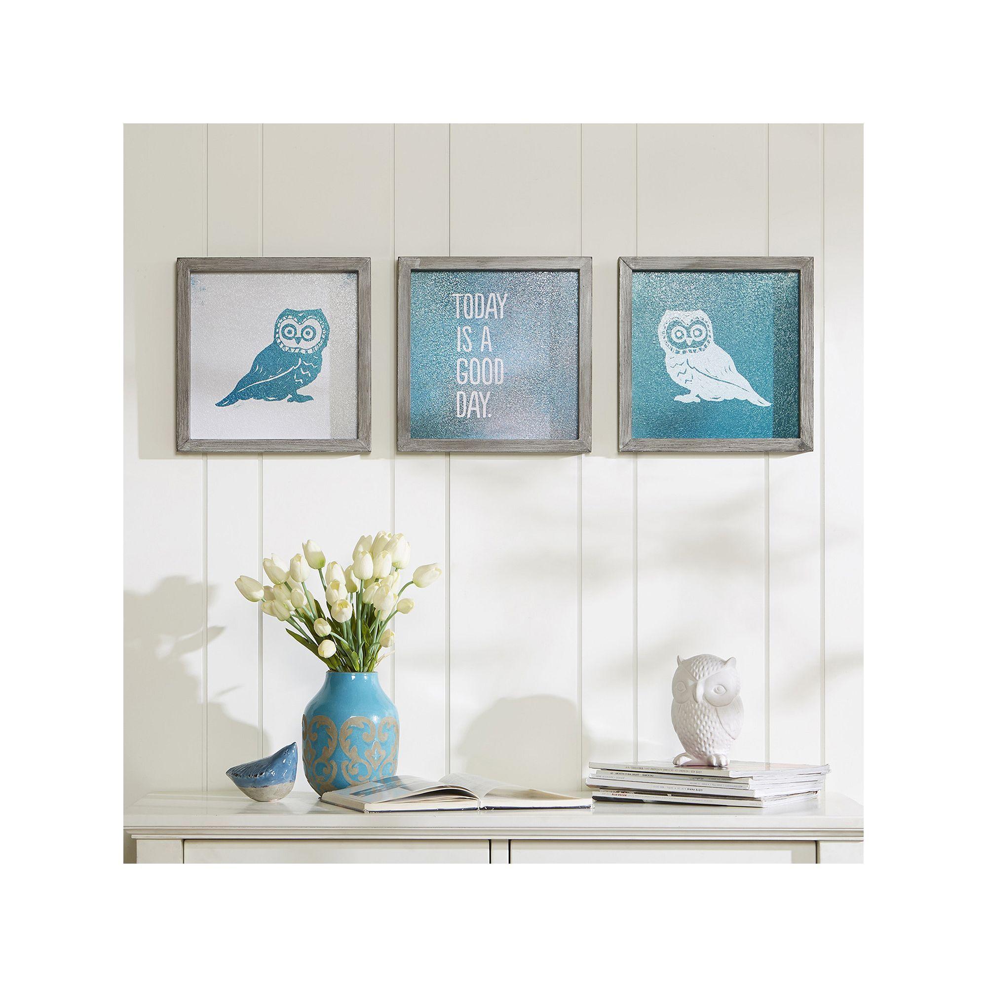 Intelligent Design 3-piece \'\'Wise As An Owl\'\' Wall Art Set | Owl ...