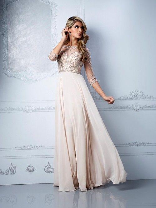White chiffon floor length dress