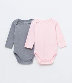 4c952ba0b Kit Body Infantil Liso Mescla e Gola Americana - Tam 0 a 18 meses ...