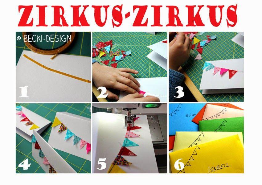 Becki Design: Einladungen Kindergeburtstag Genäht   Thema Zirkus