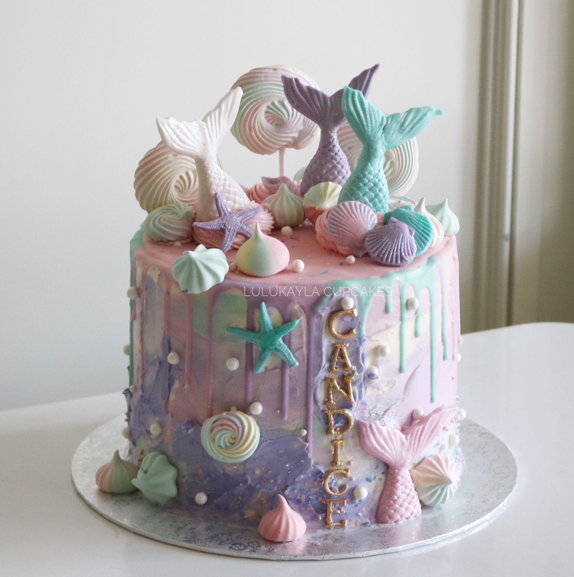 Mermaid Dripping Cake Mermaid Birthday Cakes Drip Cakes