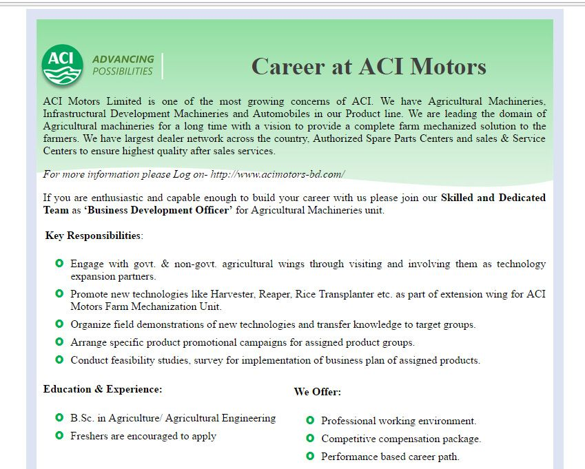 Aci Motors Limited  Position Business Development Officer  Jobs
