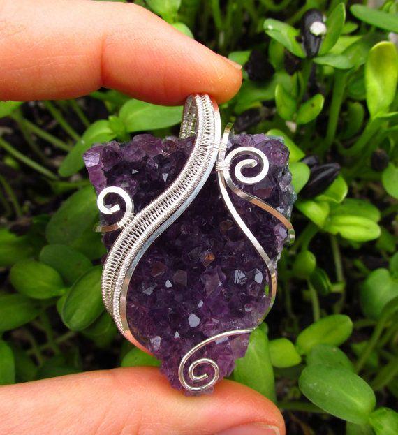 Amethyst Druzy Wire Wrapped Sterling Silver Chunky Swirly Purple ...