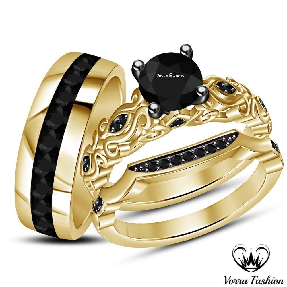 Engagement Ring Wedding Band Trio Set Black Diamond 18k