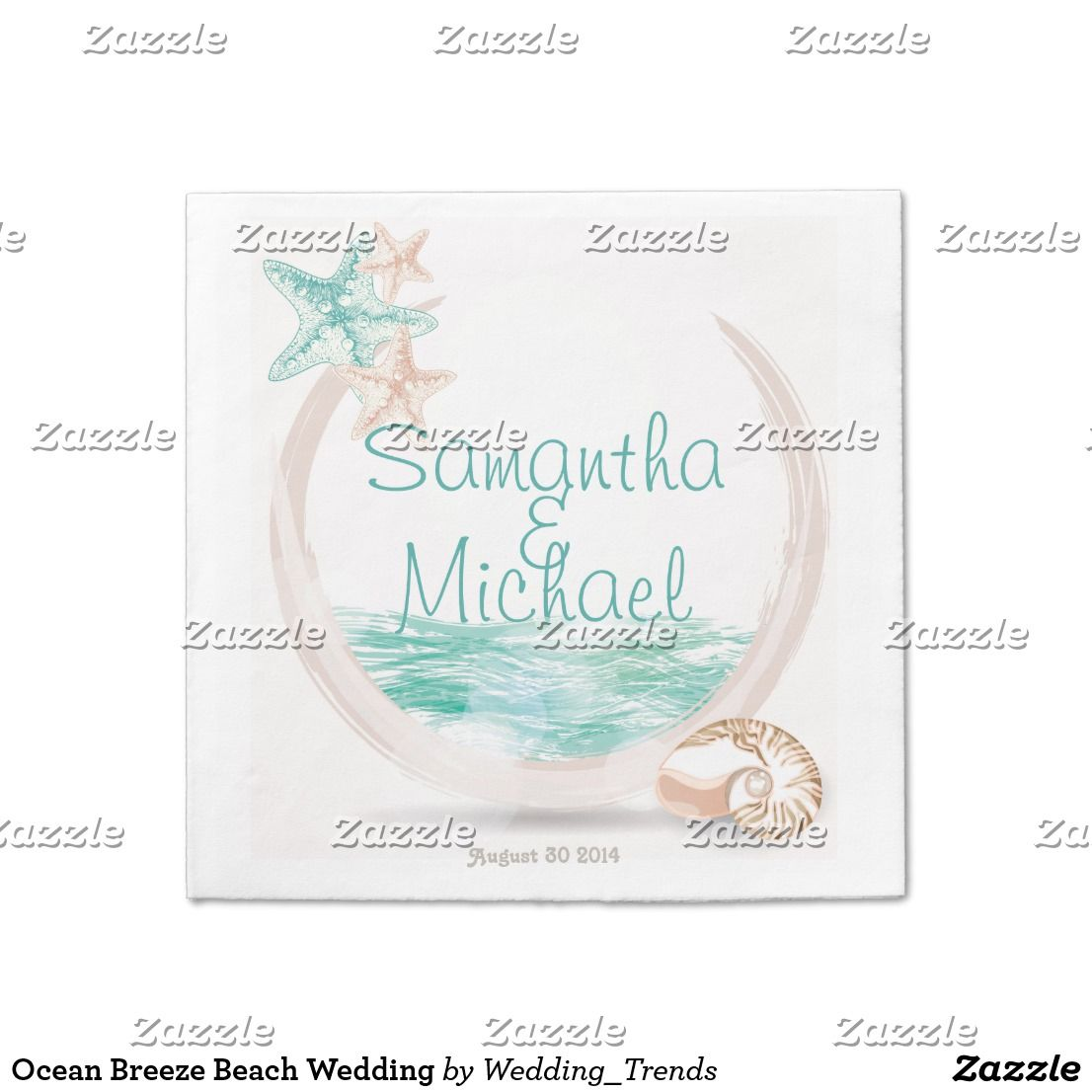 Ocean Breeze Beach Wedding Paper Napkin | Wedding paper and Beach ...