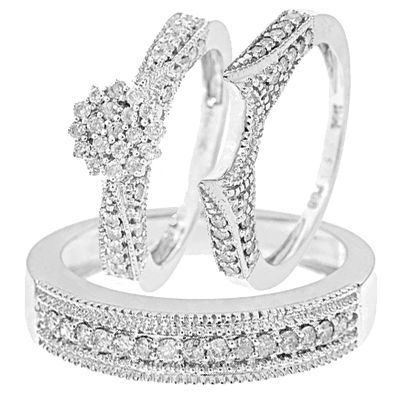1 199 99 1 Carat Diamond Trio Wedding Ring Set 14k White Gold Wedding Ring Trio Sets Wedding Ring Sets Wedding Rings Sets His And Hers