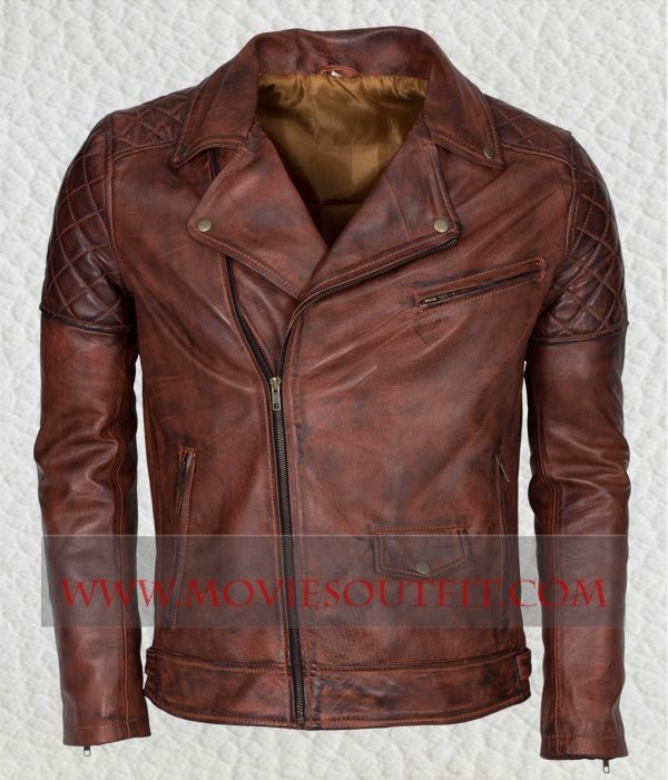 Mens Brown BRANDO Motorbiker Leather Jacket in just $199. Shop the ...
