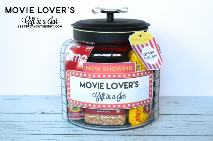 Movie Lover S Gift In A Jar Yesterday On Tuesday Mason Jar Gifts Jar Gifts Movie Lover Gift