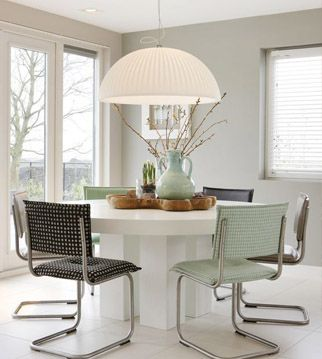 Lámparas modernas. Para una mesa de comedor redonda podemos utilizar ...