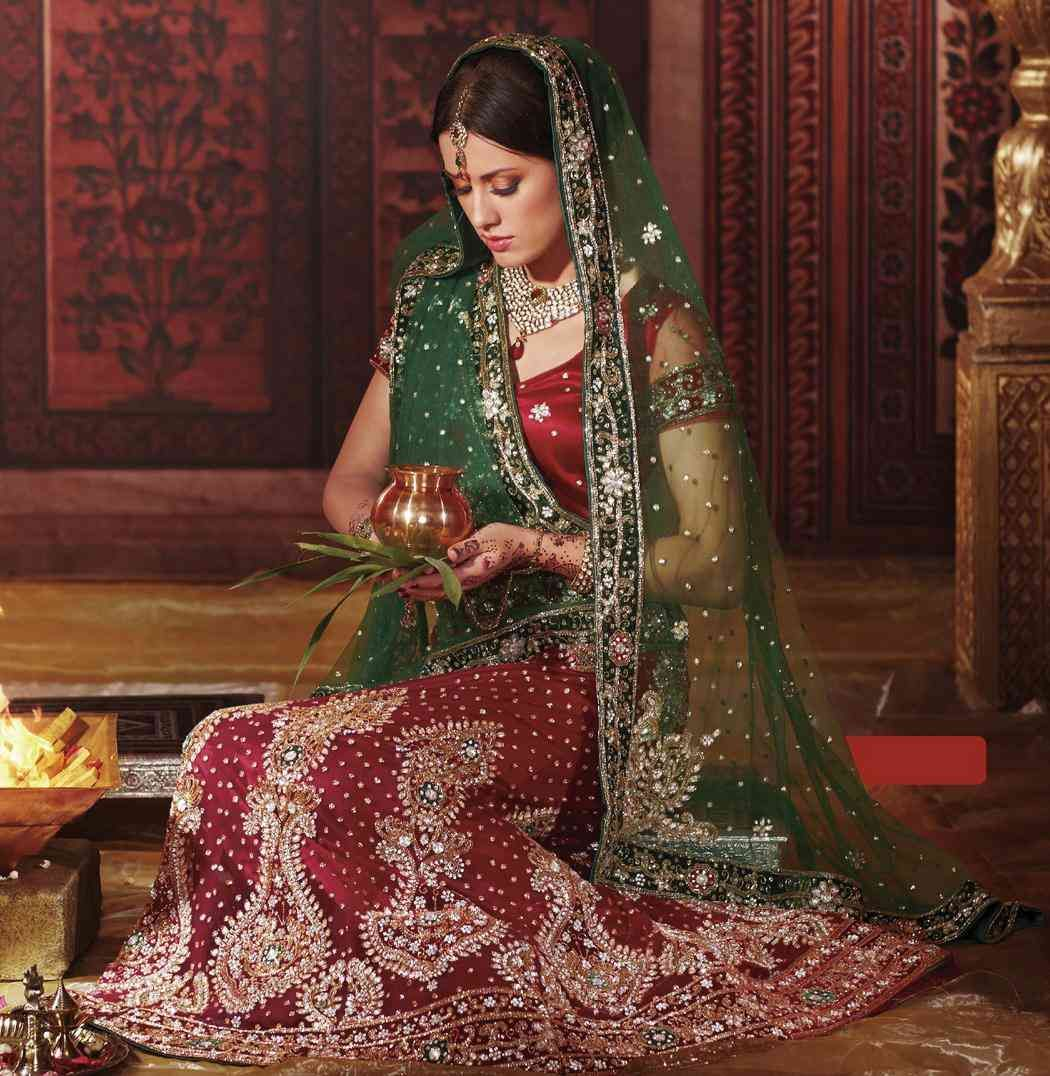 Red Green Bridal Lehenga Collection Design Wallpapers