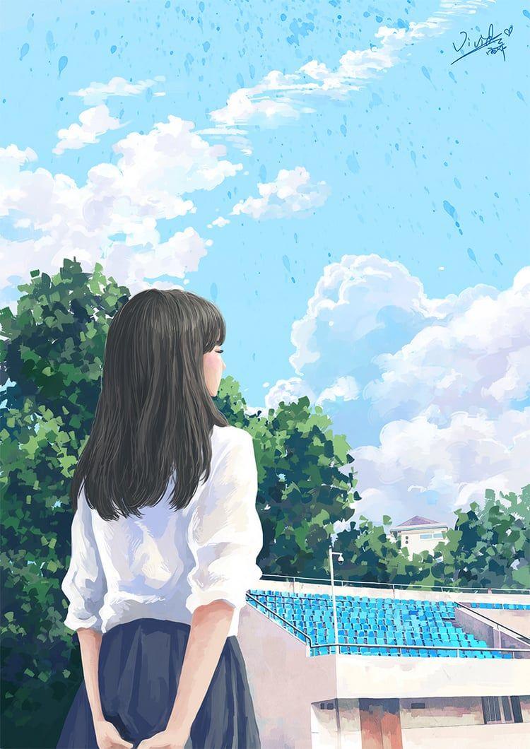 Blue Sky And Your White Shirt On We Heart It In 2020 Anime Scenery Digital Art Girl Aesthetic Art