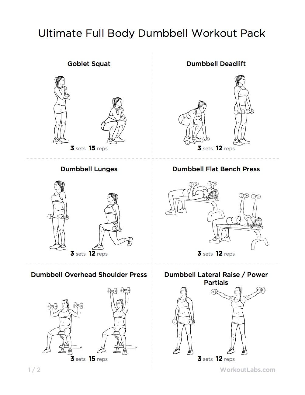Ultimate Full Body Dumbbell Workout Pack For Men Women