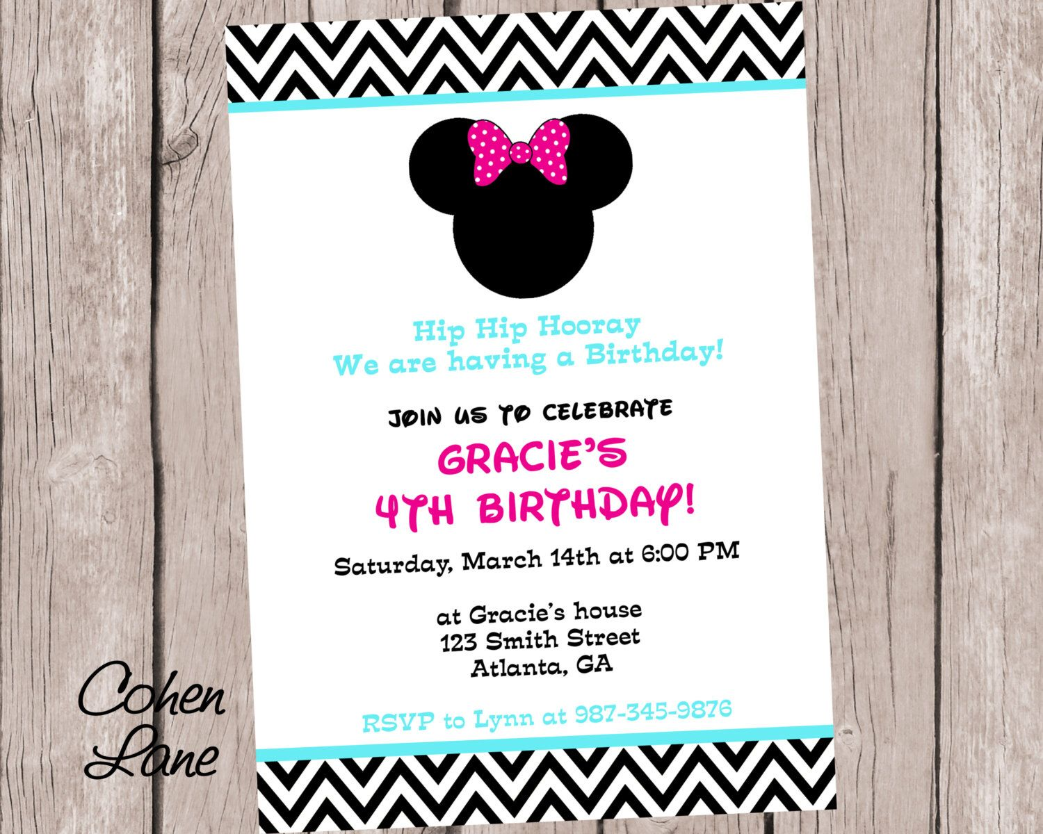 Printed 5x7 Minnie Mouse Invitations and Envelopes. Minnie Party ...