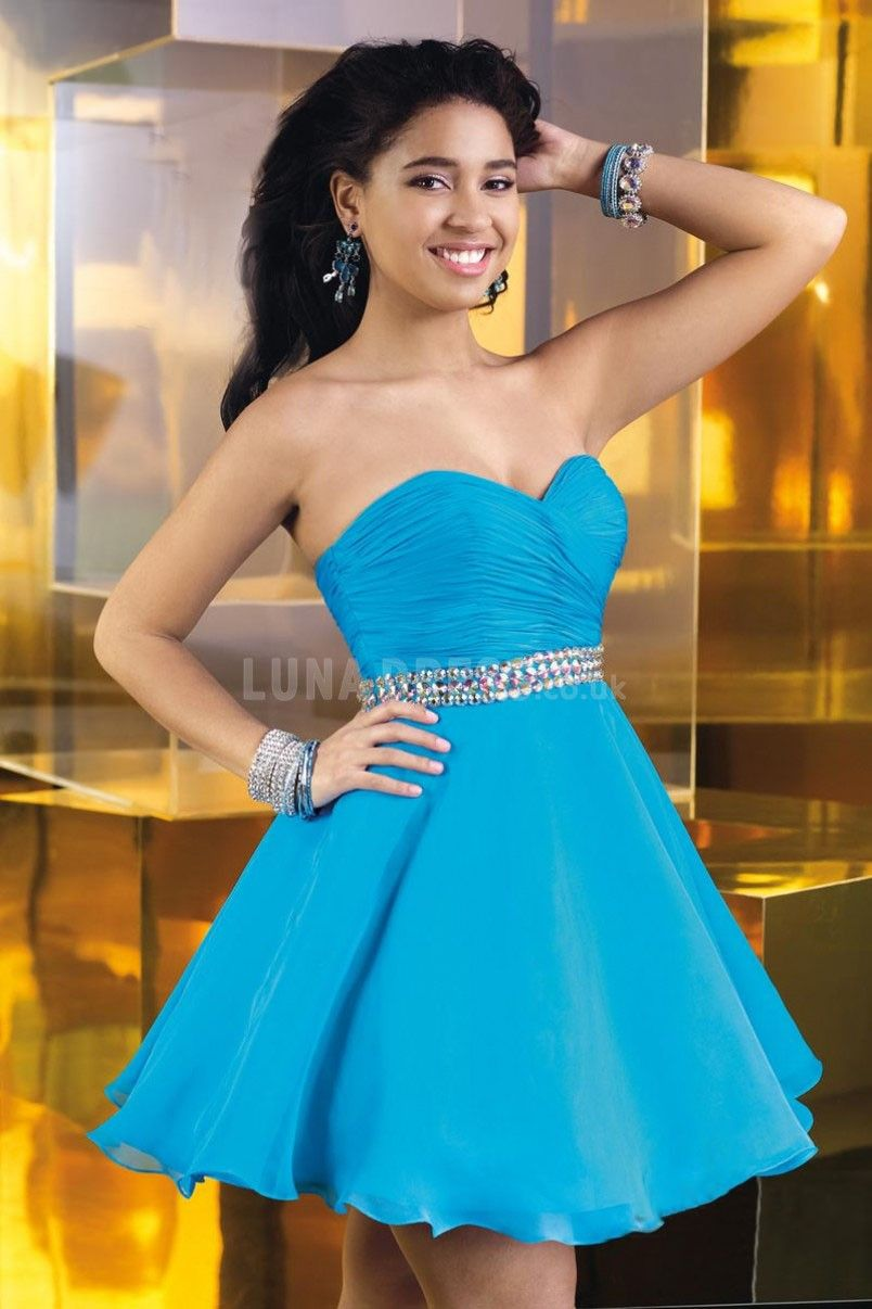 Natural Waist Sweetheart Baby Doll With Ruching Chiffon Prom Dress ...