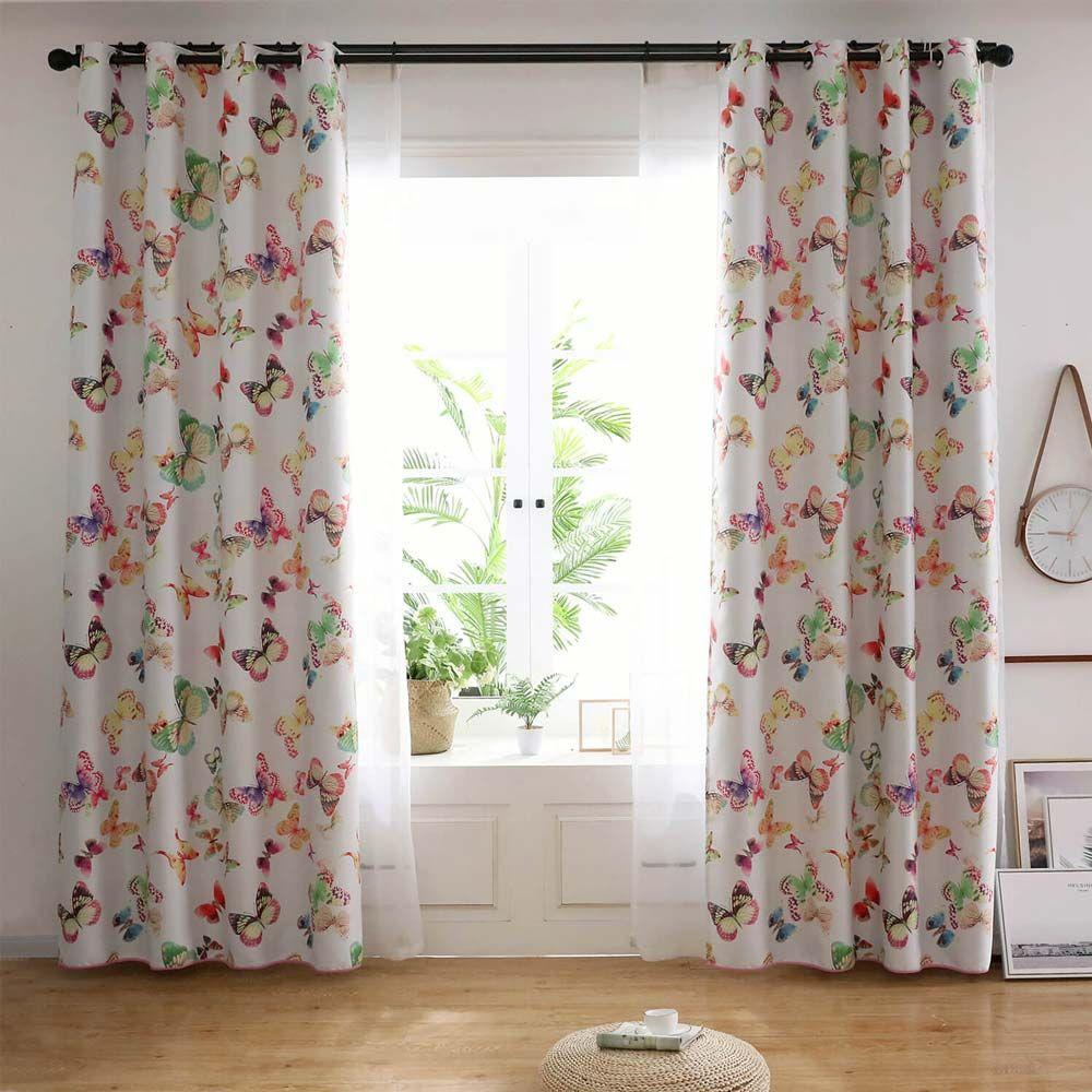 Vorhang Schmetterling aus Polyester und Leinen für