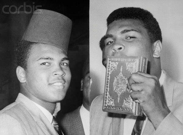 Muhammed Ali donning the Moorish Headress the FEZ