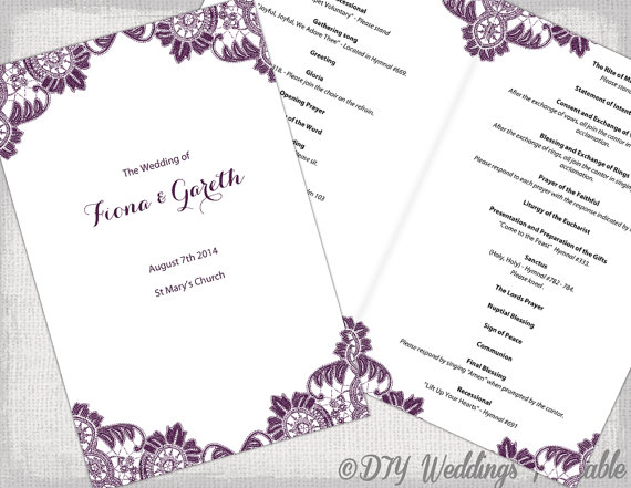 plum catholic wedding program template antique lace diy printable