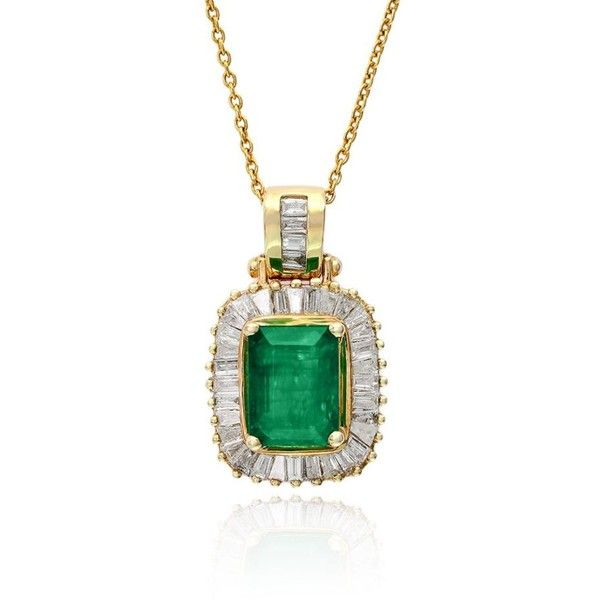 Effy emerald and diamond pendant necklace in 14k yellow gold 2678 effy emerald and diamond pendant necklace in 14k yellow gold 2678 liked on aloadofball Gallery