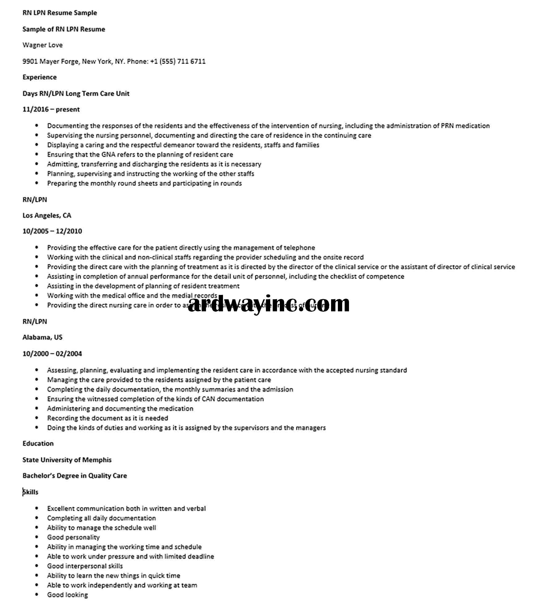RN LPN Resume Sample in 2020 Lpn resume, Lpn, Good