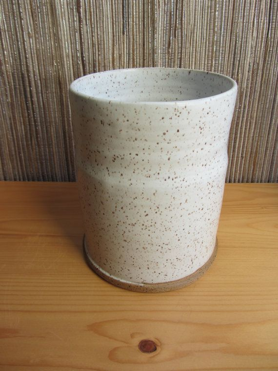 Pottery Kitchen Utensil Holder Speckled White Kitchen Crock Handthrown Pottery Farmhouse Pottery Kitchen Utensil Holder Utensil Holder Hand Thrown Pottery
