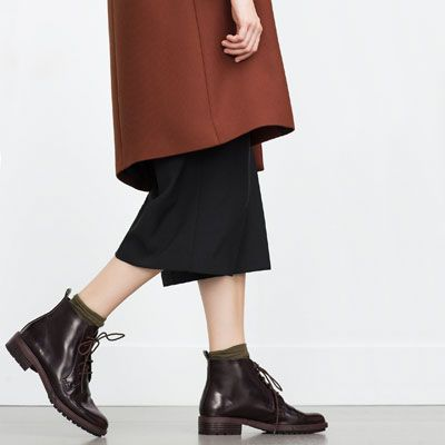 Image 2 of FLAT ANKLE BOOTS WITH LACES from Zara