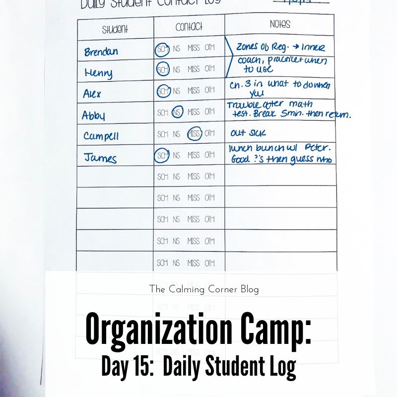 Organization Camp Day 15 Daily Student Log Student Student Behavior Social Work Offices