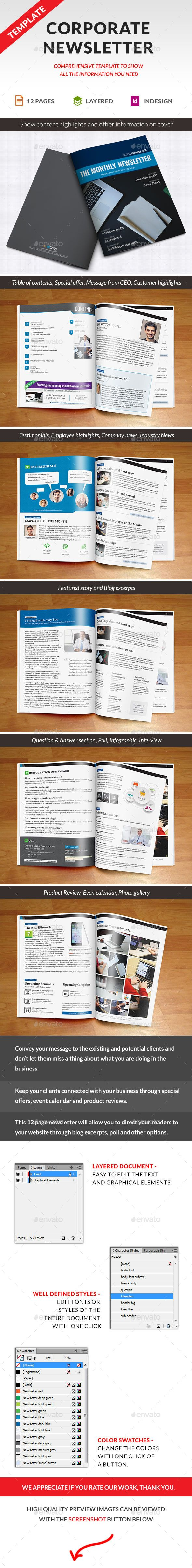Corporate Newsletter Indesign Template   Pinterest
