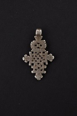Ethiopian cross pendant silver pierced, worn by the Christian communities of Ethiopia, Christian enclave in East Africa from the fourth cent...