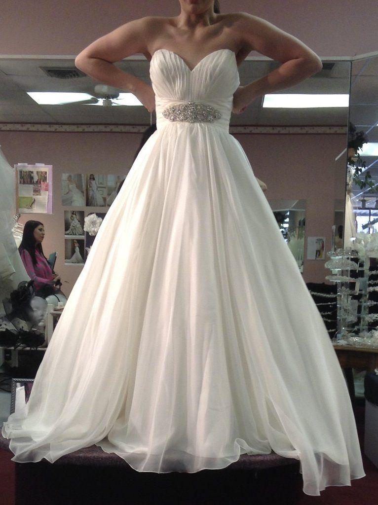 1b0c437d6c3 Bonny Bridal  333  size 6 used wedding dress front view on bride