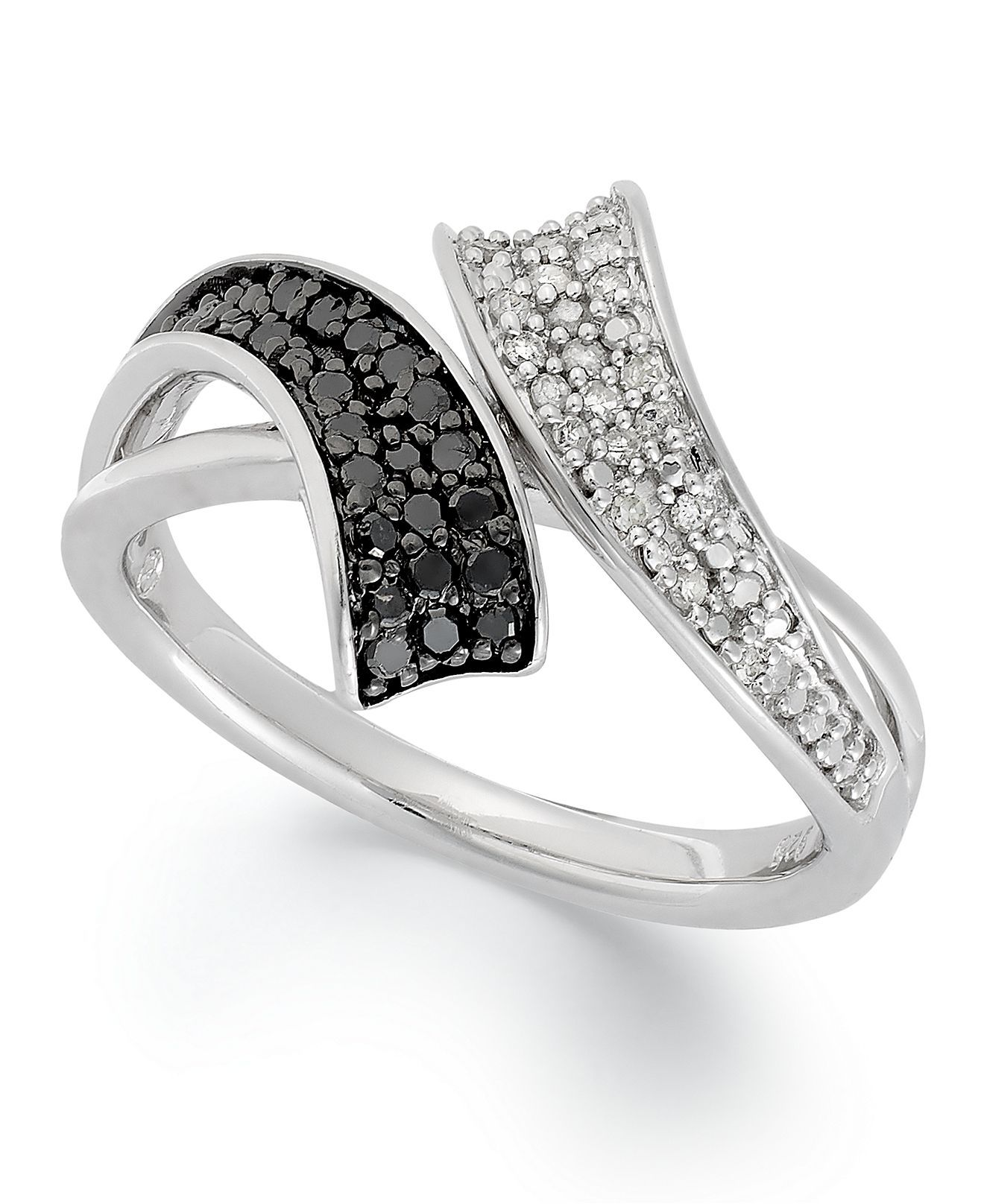 Sterling Silver Ring, Black and White Diamond Bypass Ring