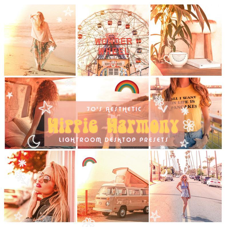 Hippie Harmony Lightroom Desktop Presets Filter Instagram Etsy In 2020 Lightroom Vintage Instagram 70s Aesthetic