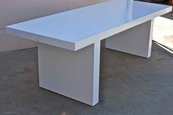 White Lacquer Mid Century Modern Dining Table Midcentury Modern