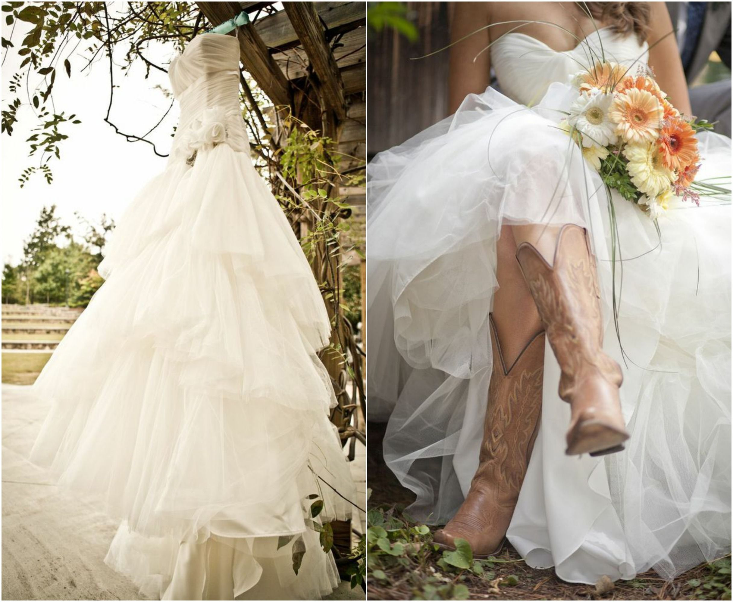 Rustic Wedding With Bridesmaids In Cowboy Boots | Vestidos de novia ...