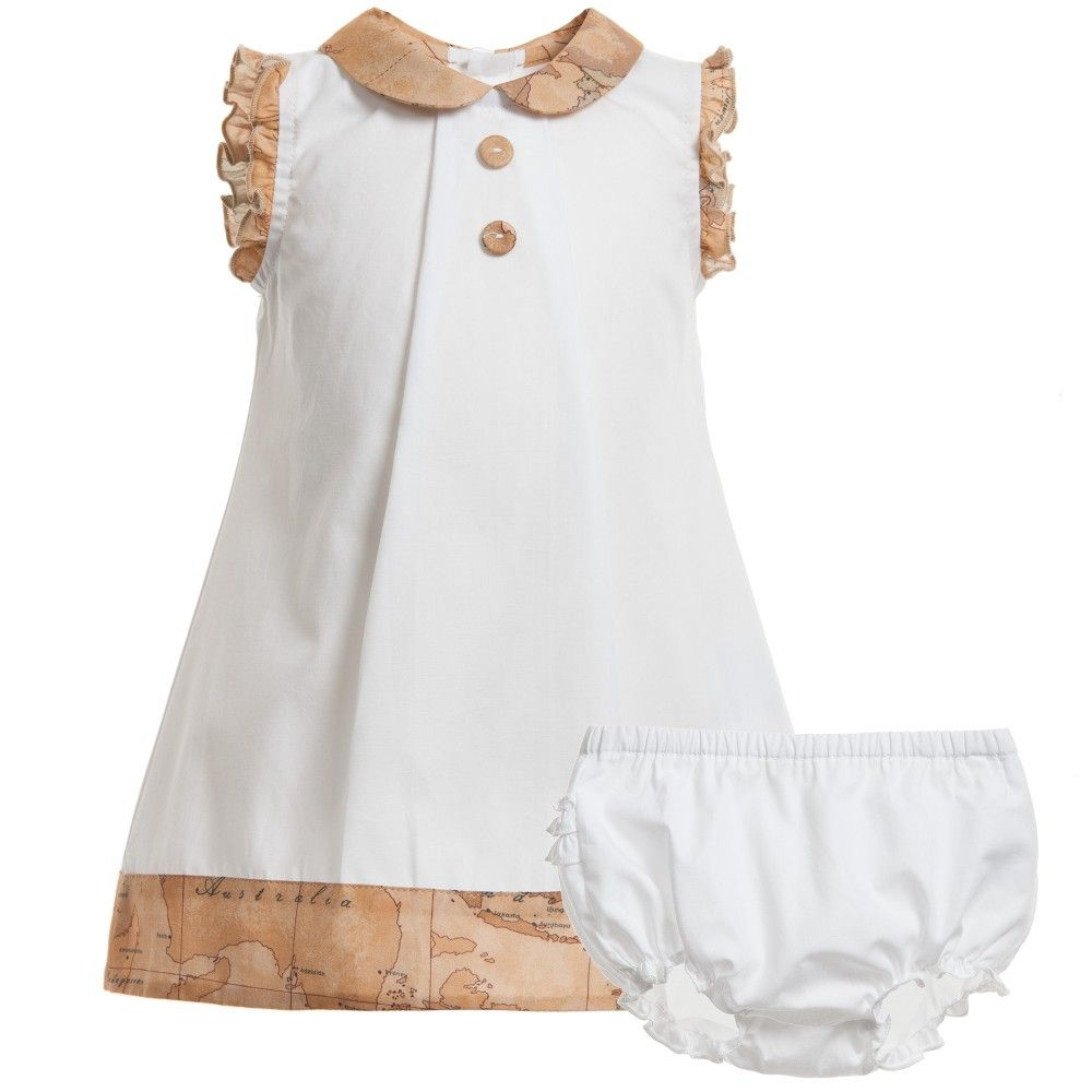 Alviero Martini White & Vintage Map Baby Dress with Bloomers at Childrensalon.com