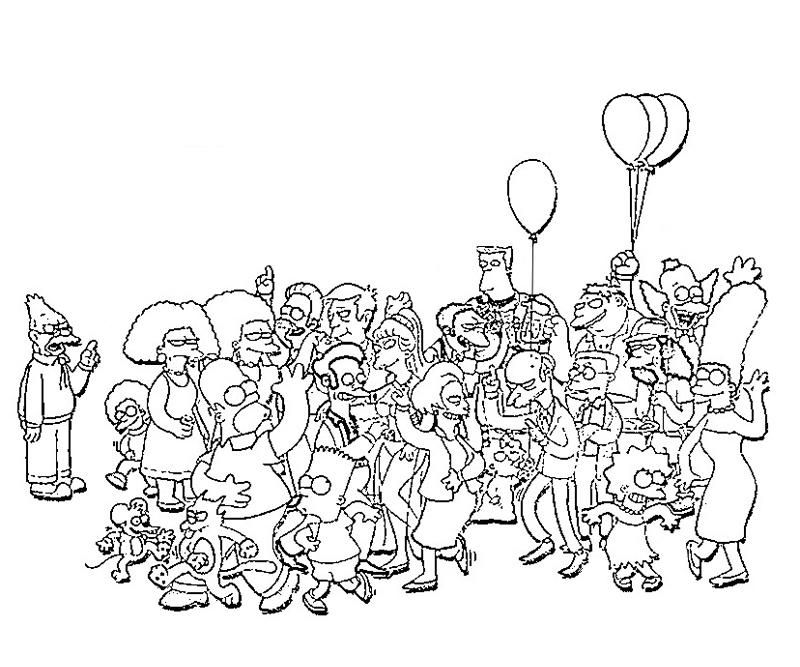 printable simpsons characters coloring pages picture - Printable Simpsons Coloring Pages