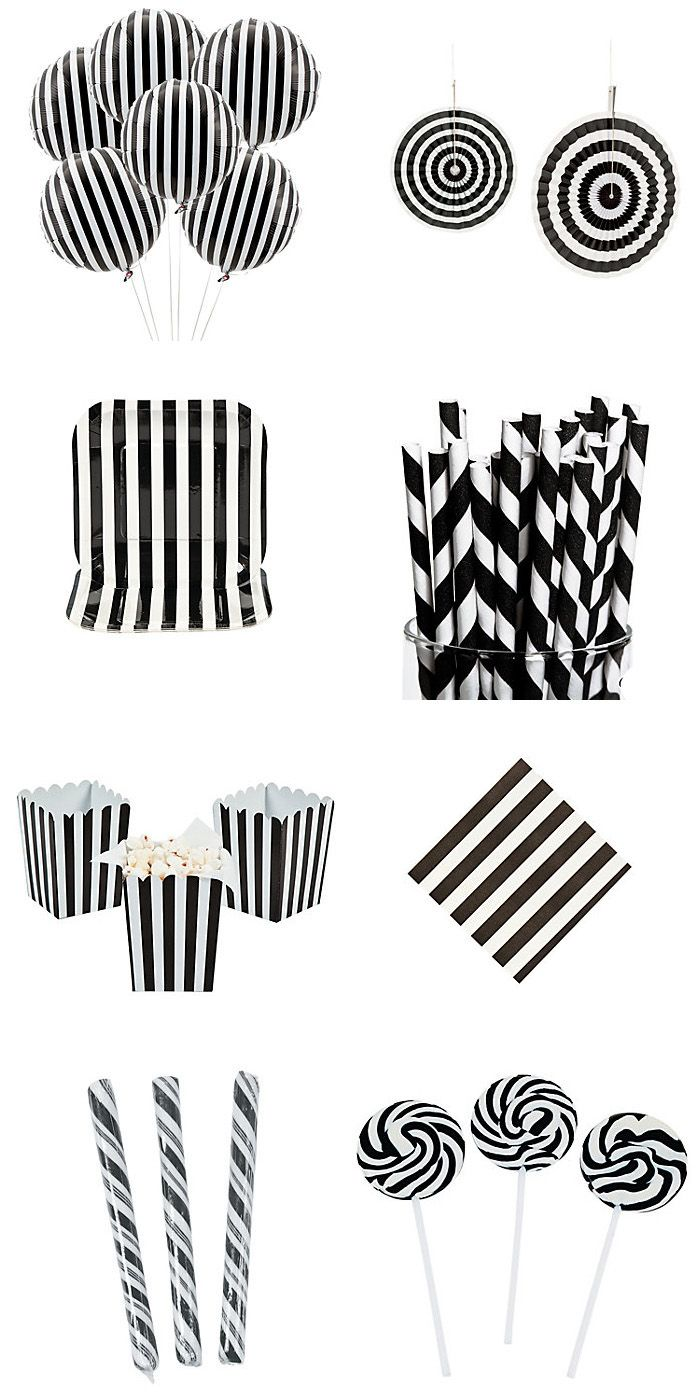 Black \u0026 White party supplies balloons hanging fans paper plates straws  sc 1 st  Pinterest & Black Striped Mylar Balloons   Black white parties Popcorn and Napkins