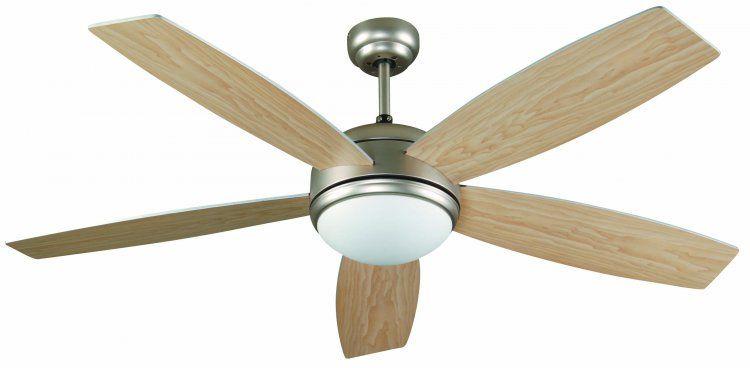 VENTILADOR de techo con luz VANU 33313  • Acabado metal. Color níquel mate. Difusor cristal opal.  • 5 Palas madera reversibles en dos colores: gris / arce.  • Este ventilador tiene función inversa verano/invierno, por lo que podrá utilizarlo también en invierno mejorando la eficiencia de su sistema de calefacción.  • Con luz, 1 bombilla x E27 máx. 60W no incluida.  • Compatible con bombilla E27 LED  • Mando a distancia incluido