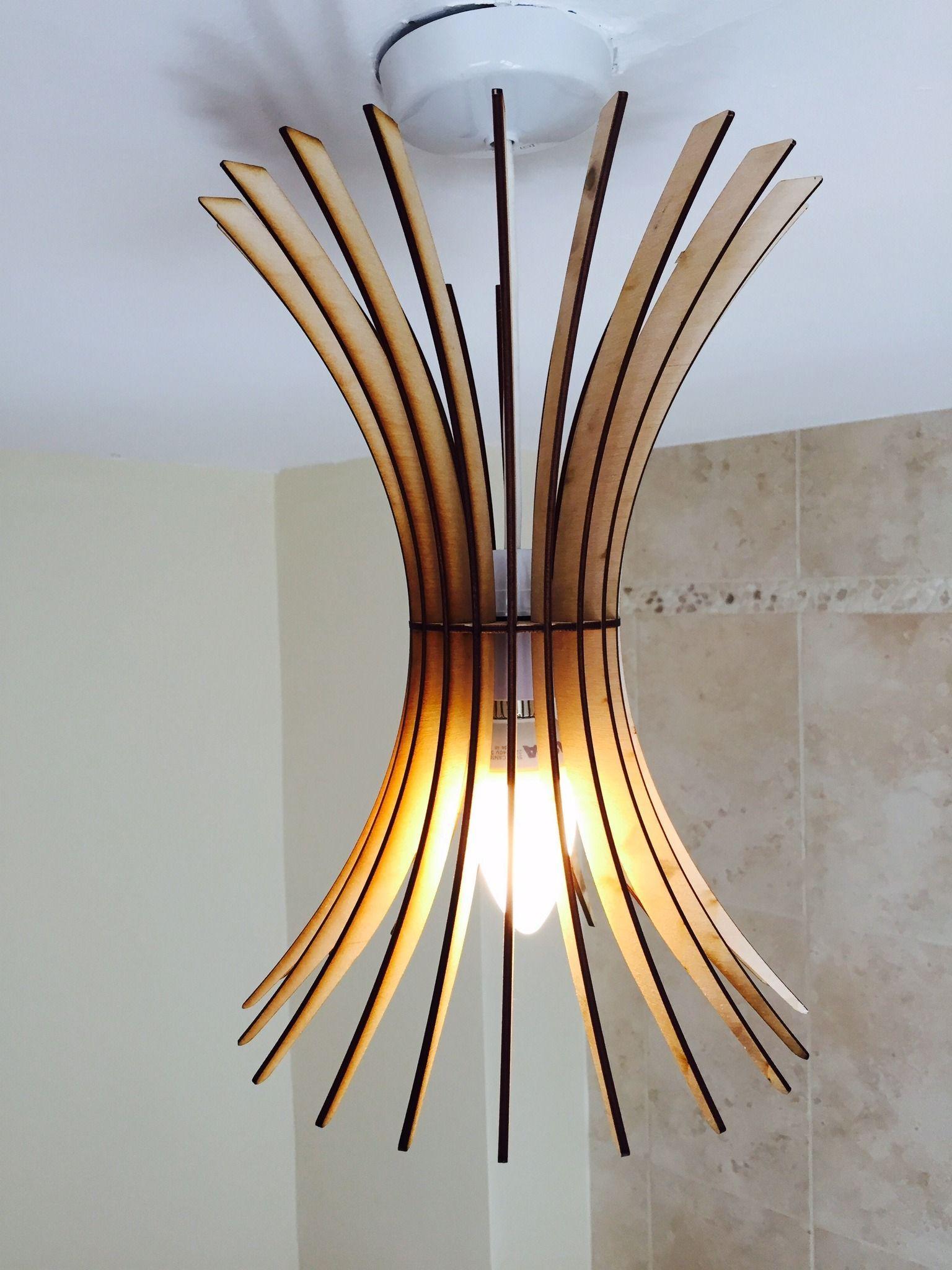 Burst Design Laser Cut Wooden Hanging Lamp Shade Dining