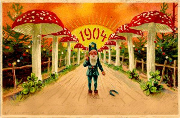 A familiar image in popular culture, it is known as the 'Glückspilz' (lucky mushroom) in Germany and represents one of the five quintessential symbols of good fortune, (along with pigs, 4-leaved clover, chimney sweeps, and horseshoes)