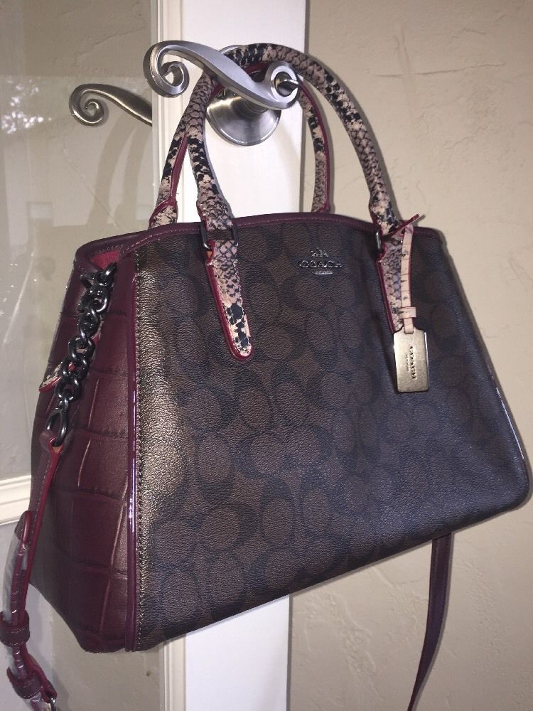 Coach F38380 Signature Exotic Mix Small Margot Carryall Brown Oxblood 475 Ebay Handbags Outlet