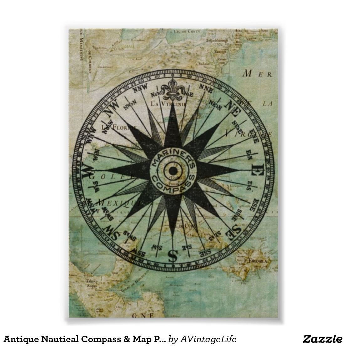 Antique Nautical Compass Map Poster Zazzle Com Nautical Map Nautical Compass Map Poster