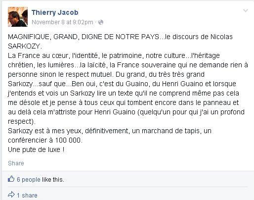 "Un élu FN de Nîmes traite Nicolas Sarkozy de ""pute de luxe"" - Le Lab Europe 1"