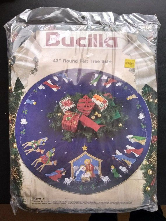 Bucilla Nativity Blue Felt Holy Christmas Tree Skirt Kit, 1991