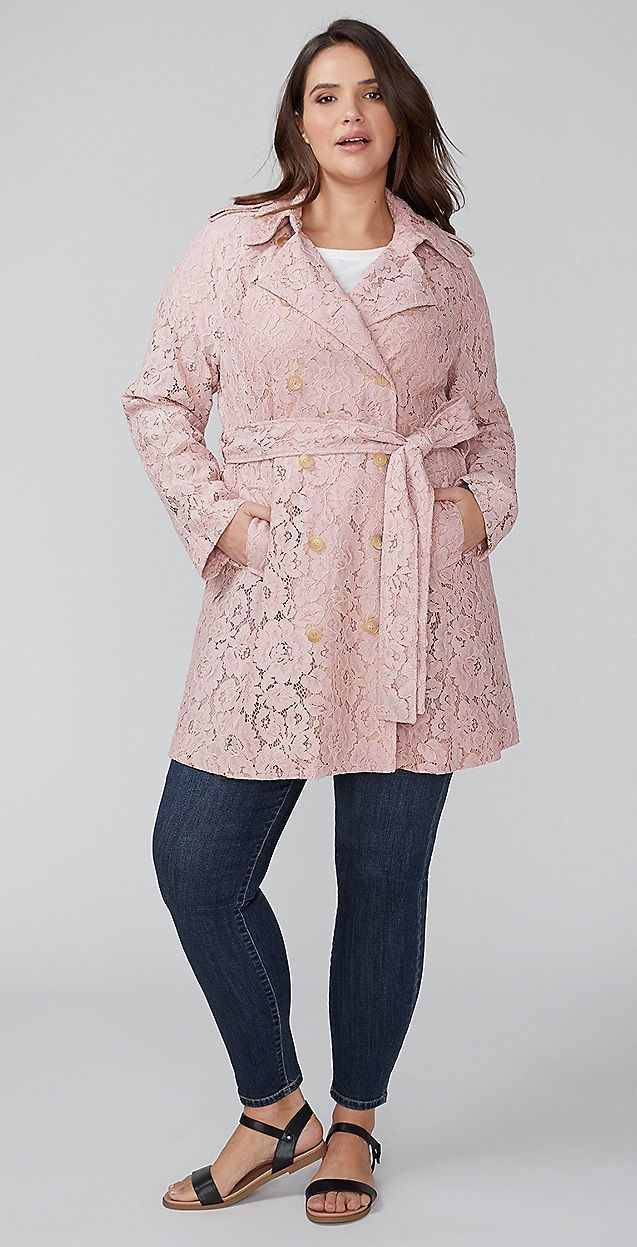 3bb2a6dcb42 Plus Size Lace Trench Coat