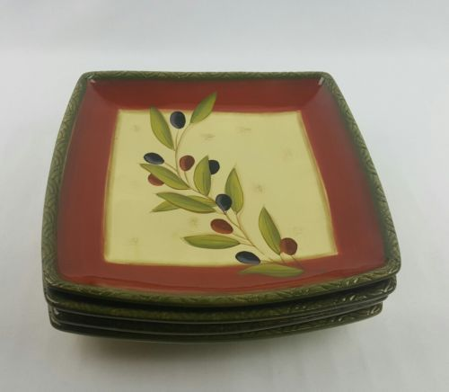 Clay Art Antique Olive Square Dinner Plates Set of 4 Cream Green Rust & Clay Art Antique Olive Square Dinner Plates 11\